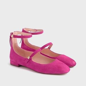 New JCREW Poppy two-strap Ballet flats Shoes Suede